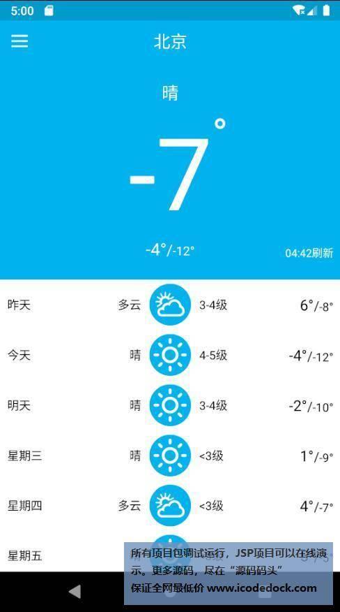 源码码头-Android简约天气预报-用户角色-天气首页