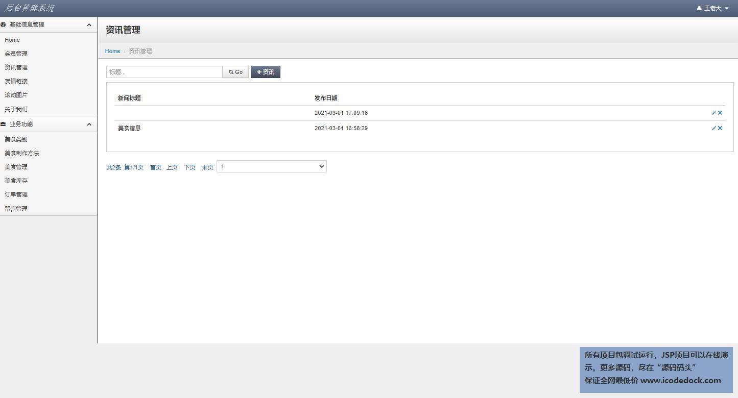 源码码头-JSP中华传统美食网站平台管理系统-管理员角色-资讯管理