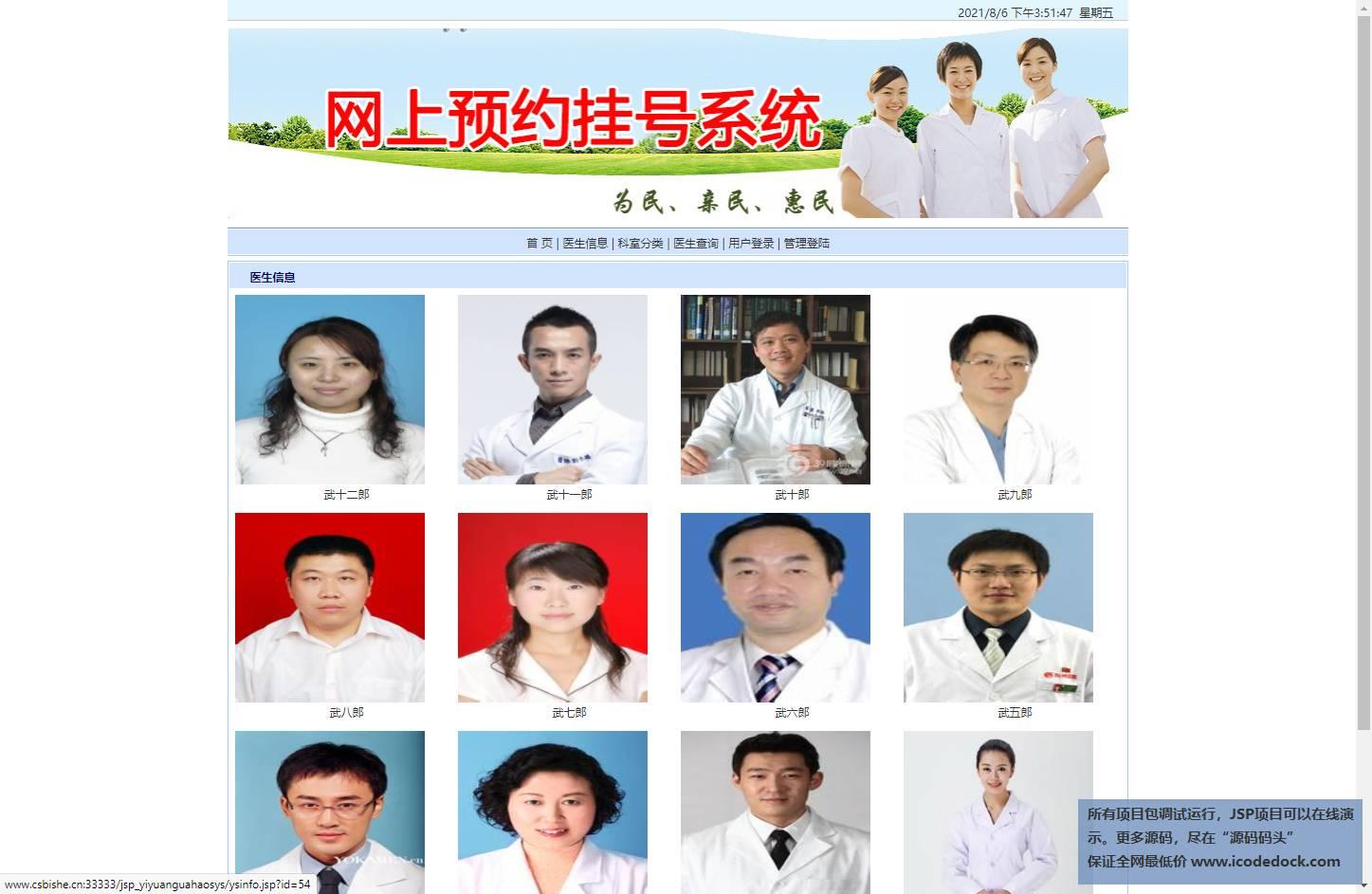 源码码头-JSP医院在线挂号管理系统-患者角色-查看首页