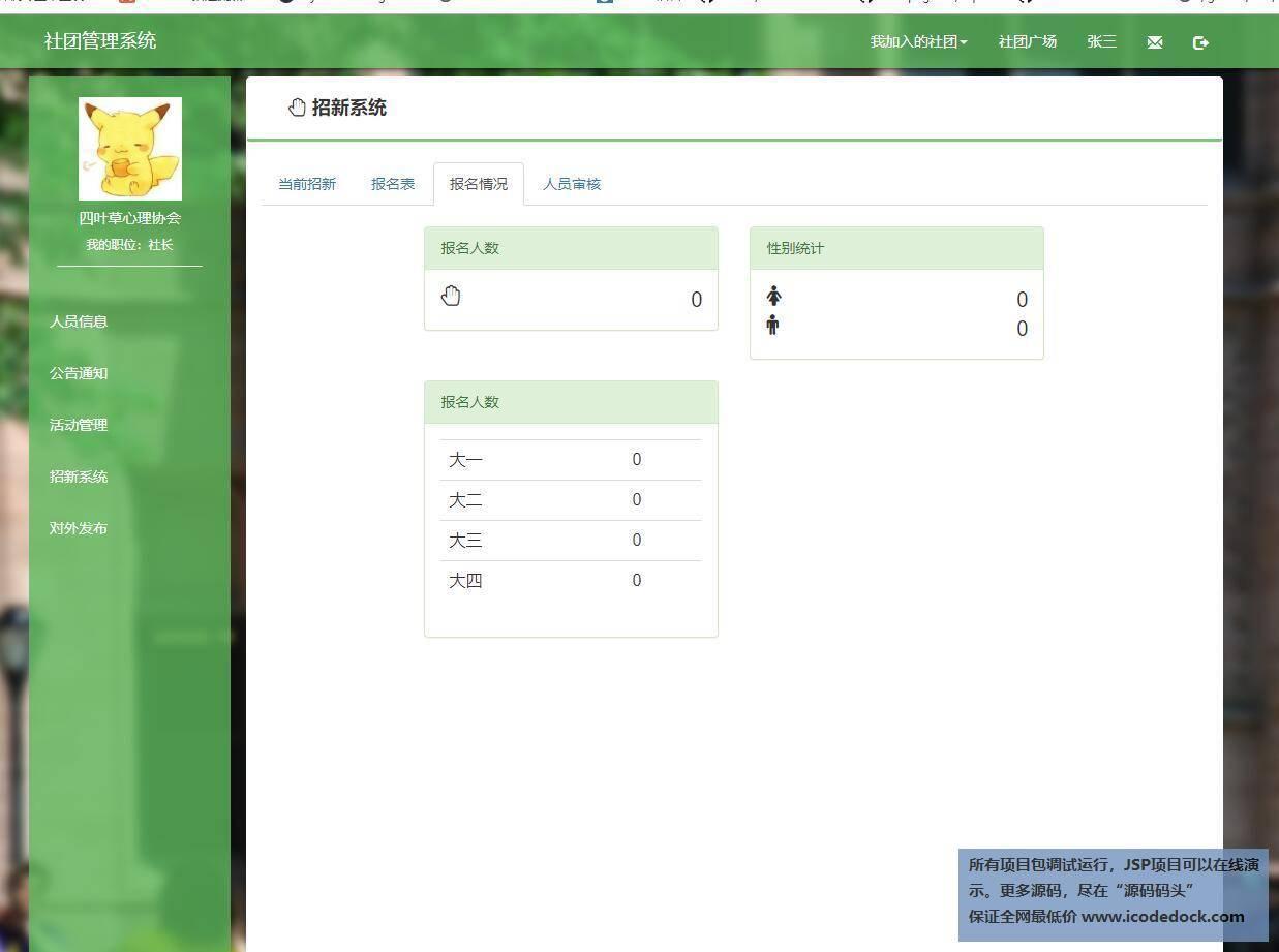 源码码头-JSP学生社团管理系统-社长角色-查看报名情况