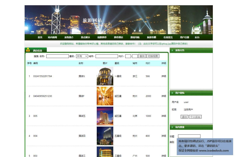 源码码头-JSP实现的一个在线旅游旅行综合服务平台-用户角色-查看推荐酒店
