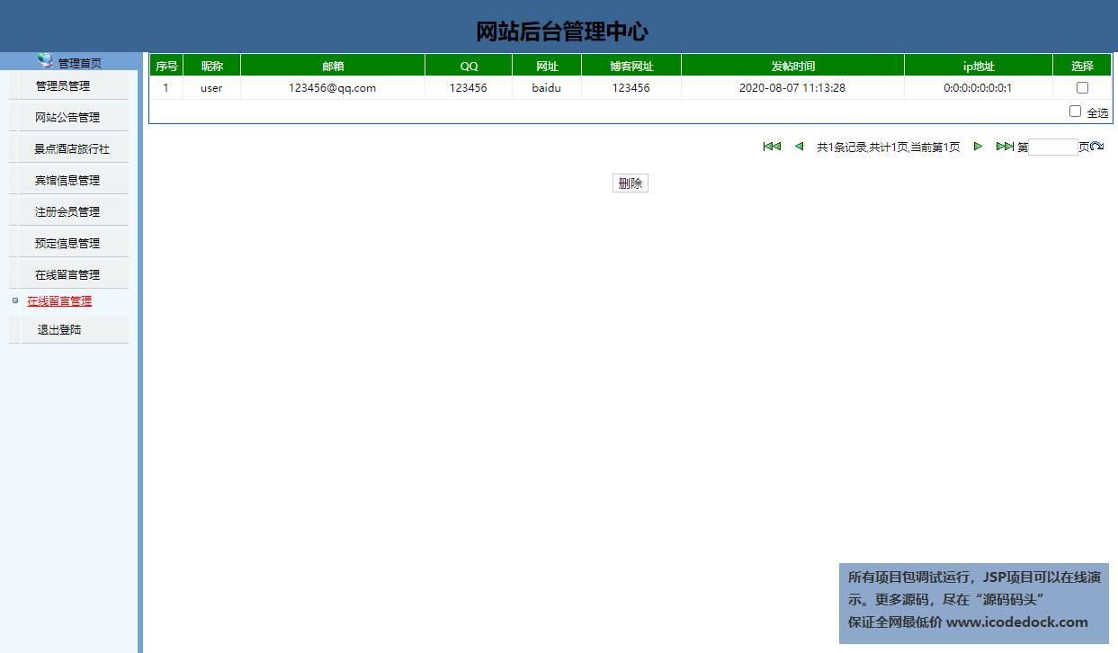 源码码头-JSP实现的一个旅游网站-管理员角色-留言管理