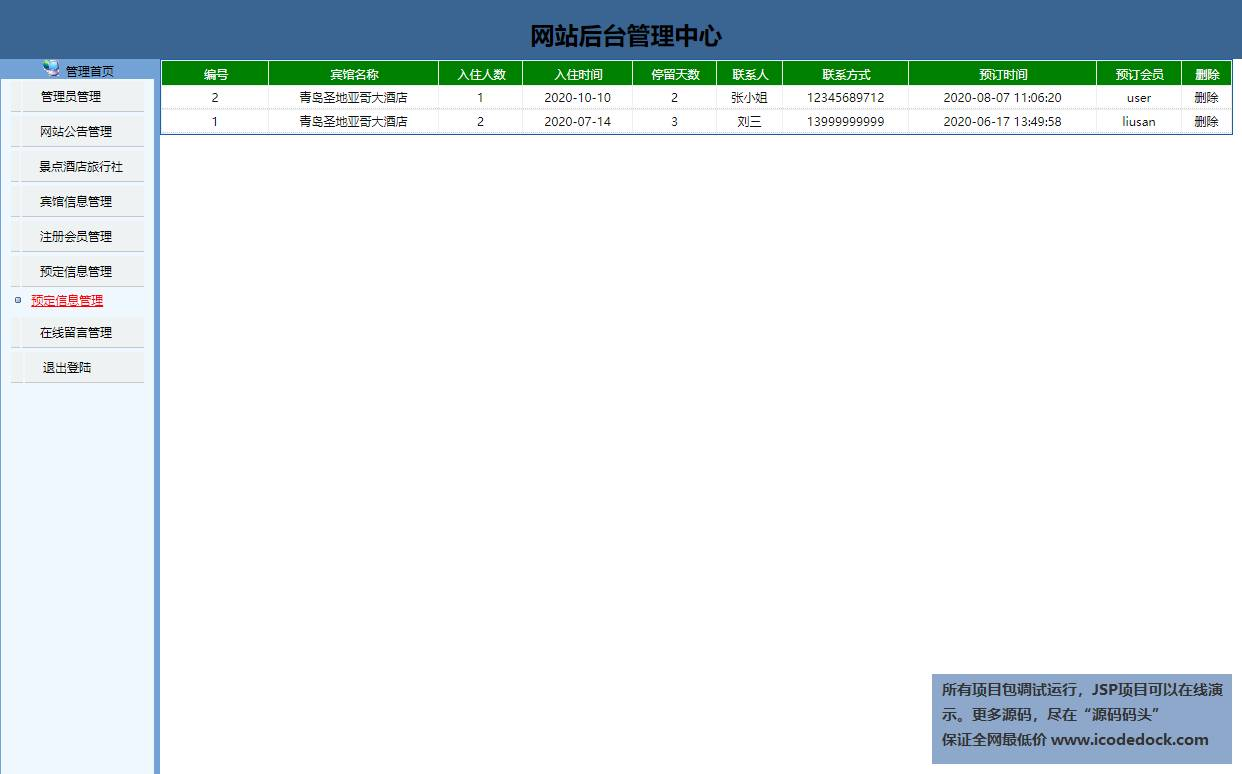 源码码头-JSP实现的一个旅游网站-管理员角色-预定信息管理