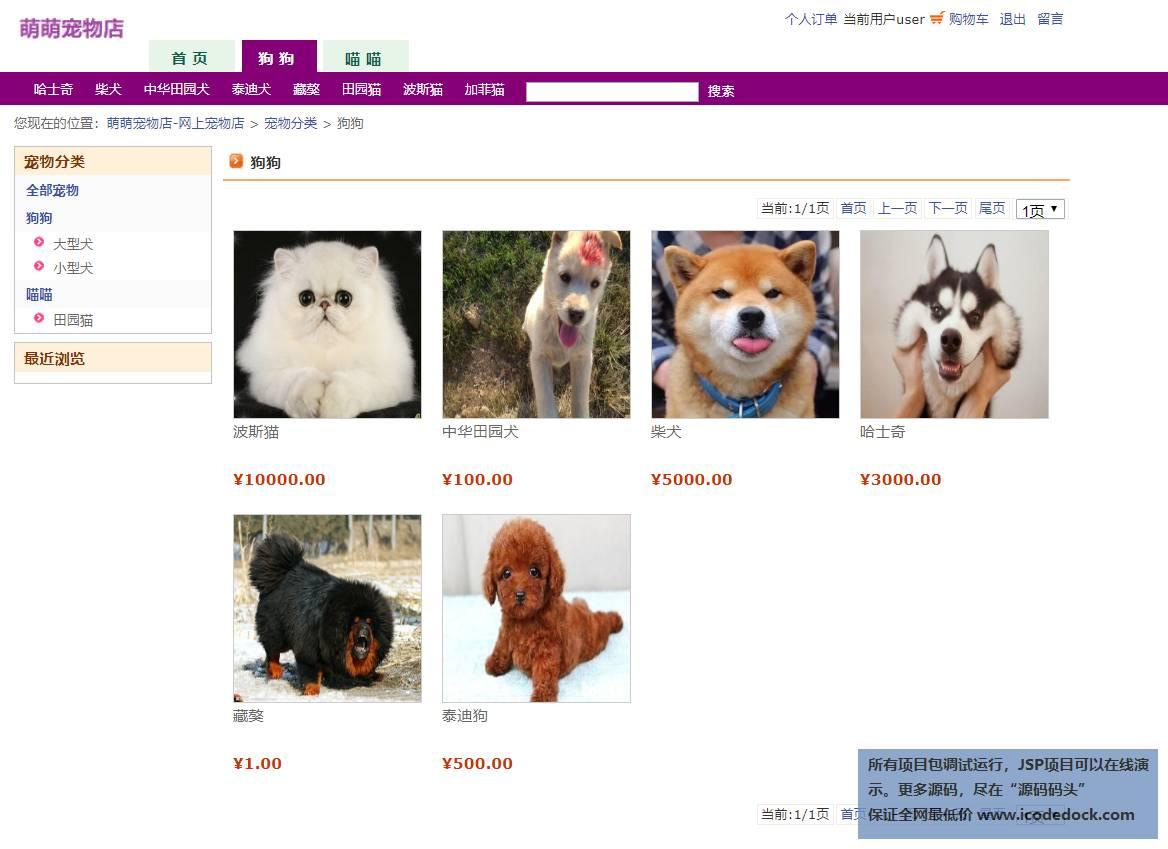 源码码头-JSP宠物商城-用户角色-狗狗分类