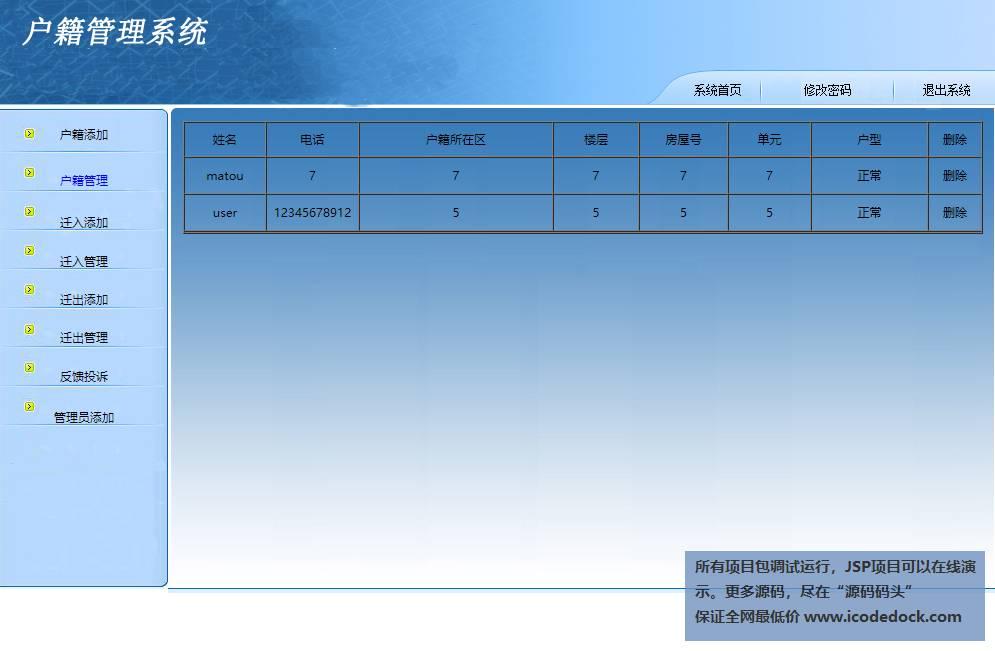 源码码头-JSP户籍管理系统-管理员角色-户籍管理
