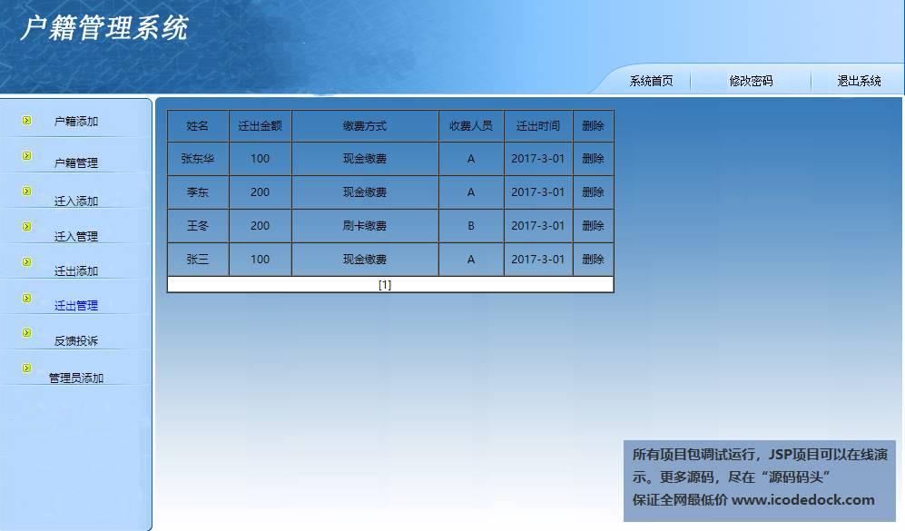 源码码头-JSP户籍管理系统-管理员角色-迁出管理