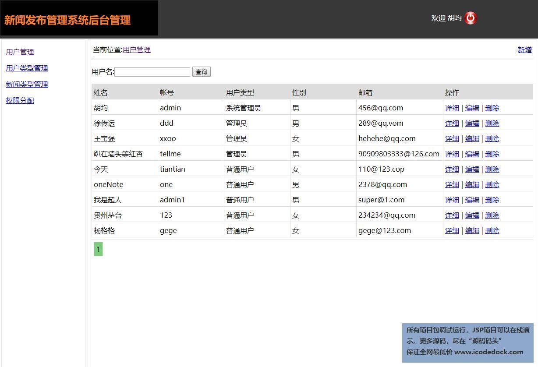 源码码头-JSP新闻发布管理系统-管理员角色-用户管理