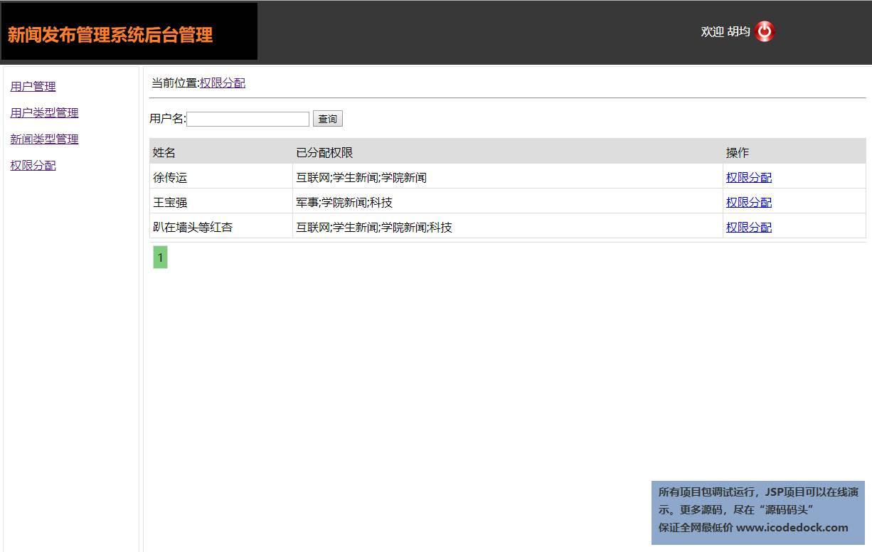 源码码头-JSP新闻发布管理系统-管理员角色-编辑权限分配