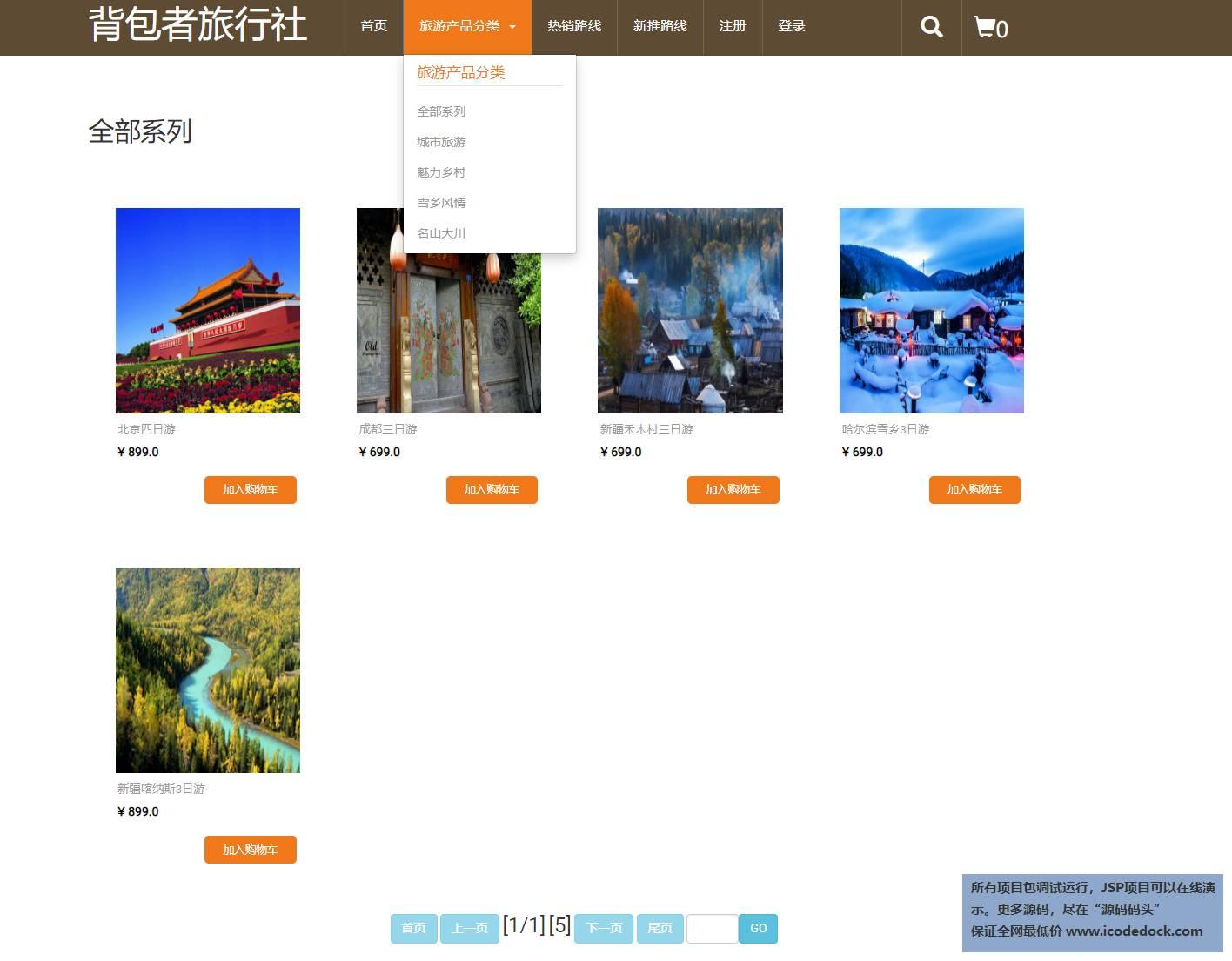 源码码头-JSP旅游产品销售管理系统-用户角色-产品分类