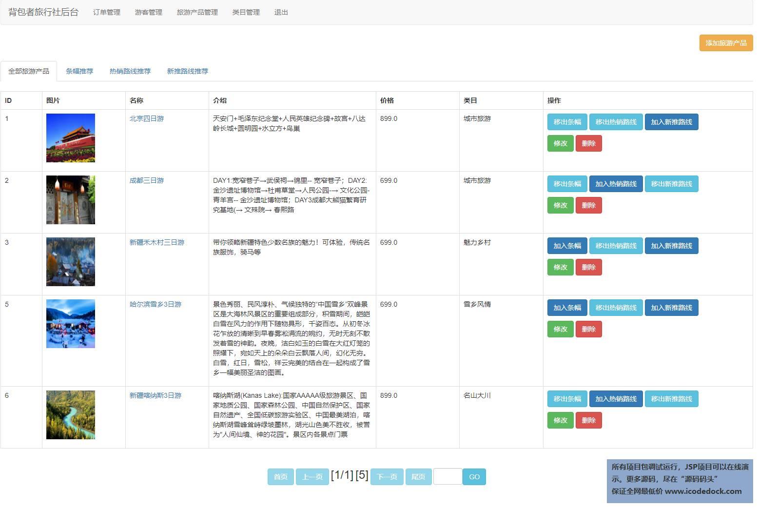 源码码头-JSP旅游产品销售管理系统-管理员角色-旅游产品管理