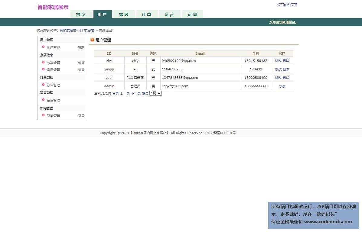 源码码头-JSP智能家居展示页面-管理员角色-用户管理