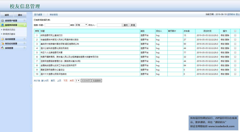 源码码头-JSP校友同学网站管理系统-管理员角色-新闻资讯管理