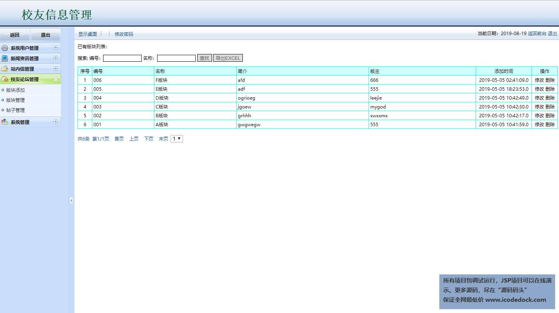 源码码头-JSP校友同学网站管理系统-管理员角色-校友论坛管理