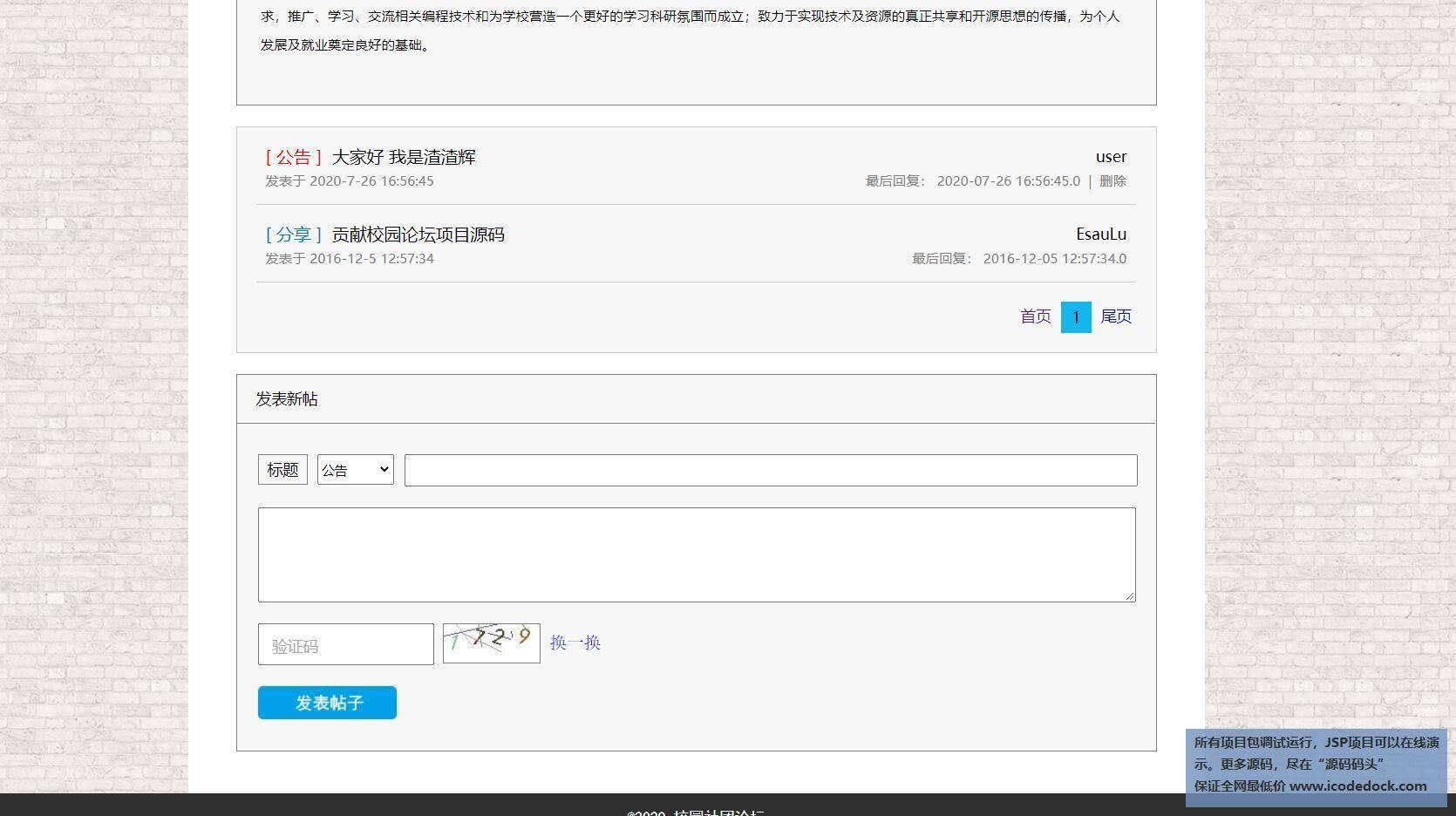 源码码头-JSP校园论坛管理系统-用户角色-发表帖子