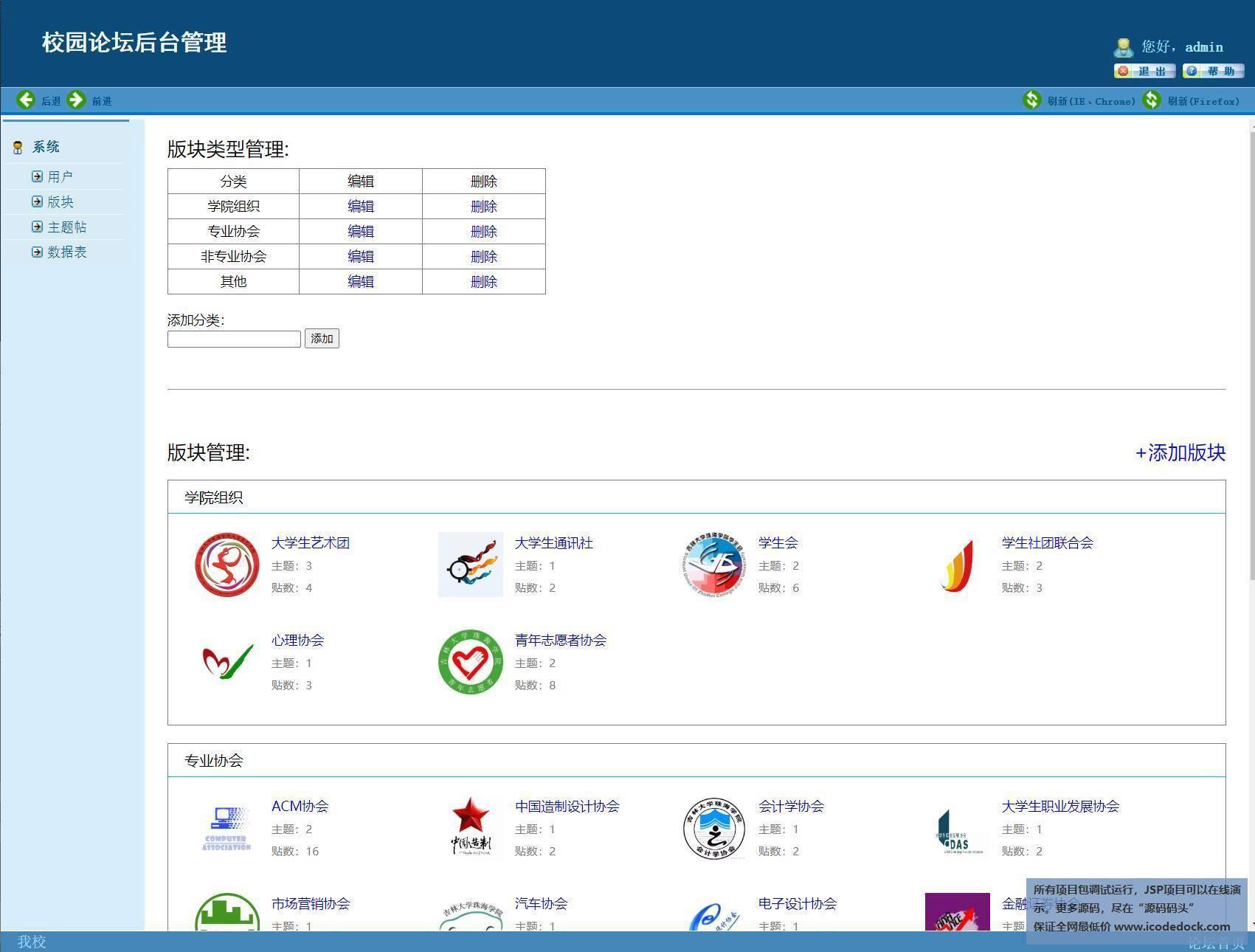 源码码头-JSP校园论坛管理系统-管理员角色-版块管理