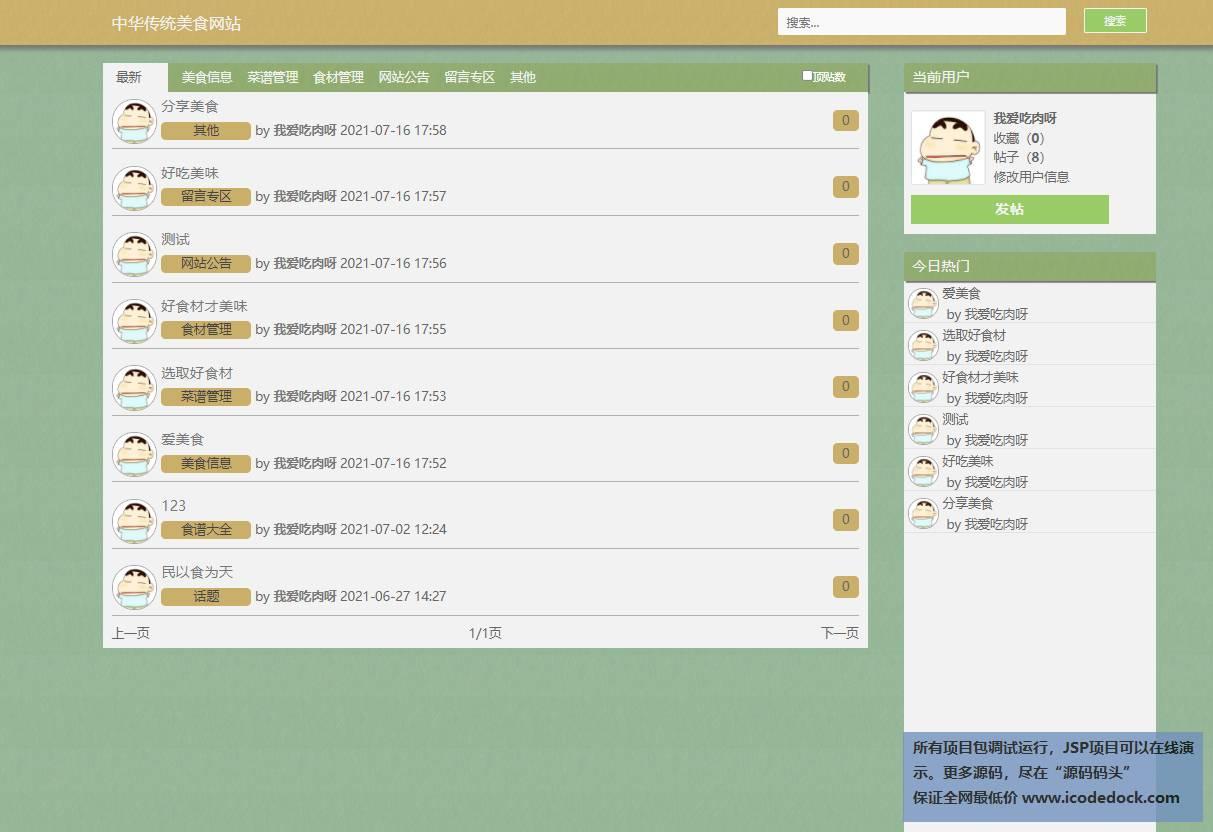 源码码头-JSP美食资讯网站平台系统-管理员角色-按分类查看