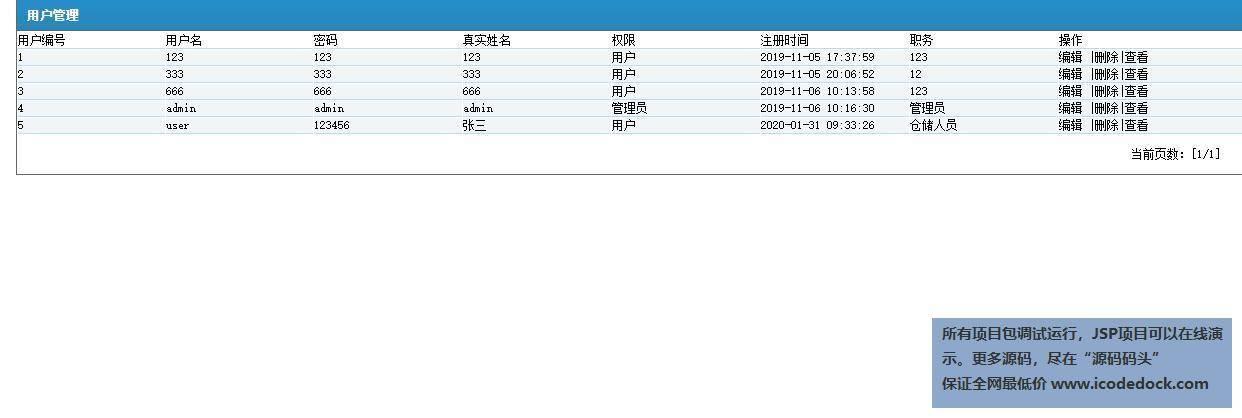 源码码头-JSP超市库存管理系统-管理员角色-用户管理