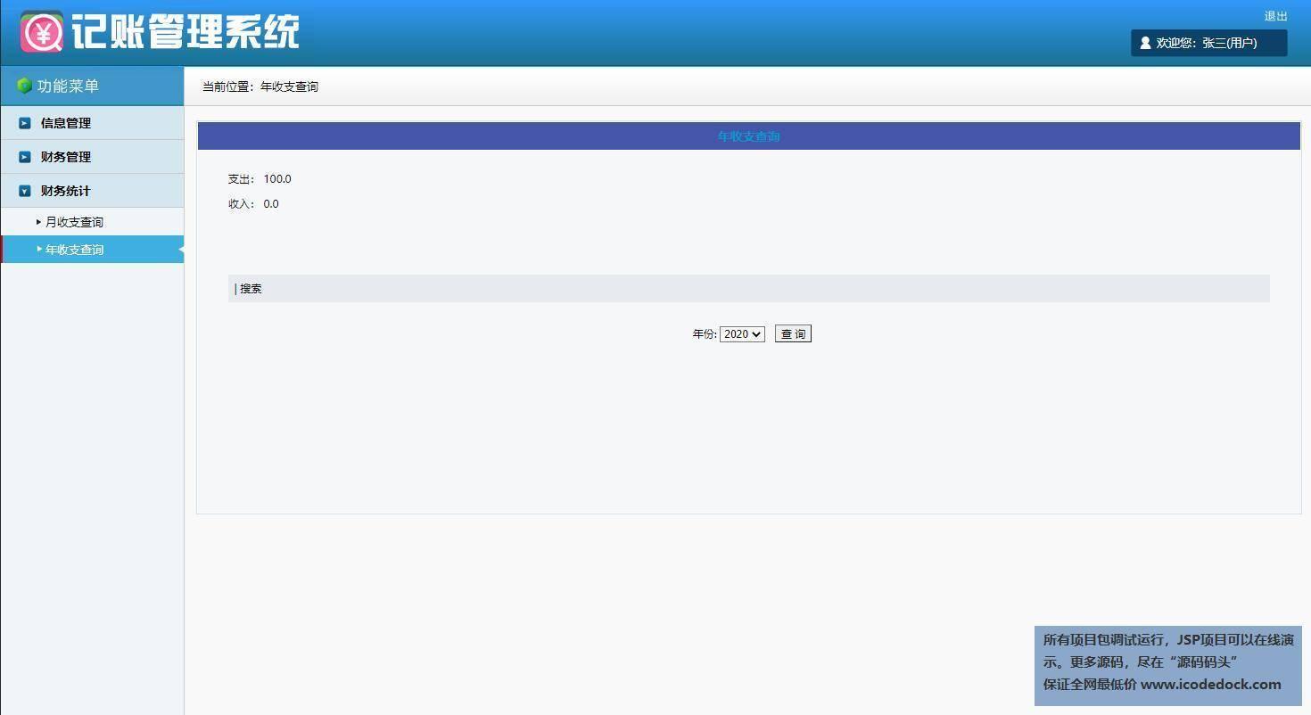 源码码头-SSH个人记账本-用户角色-年收支查询