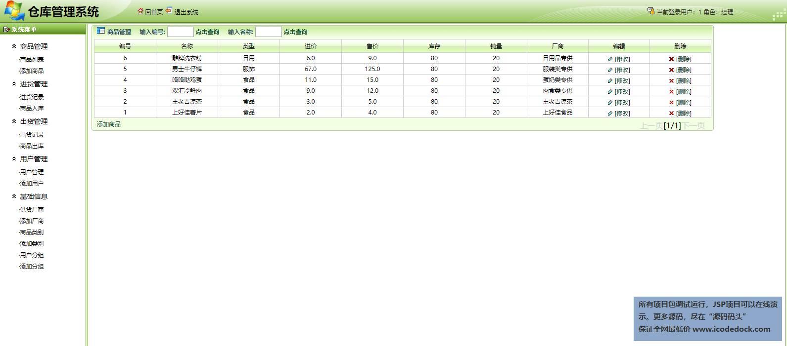 源码码头-SSH仓库管理系统-管理员角色-商品管理