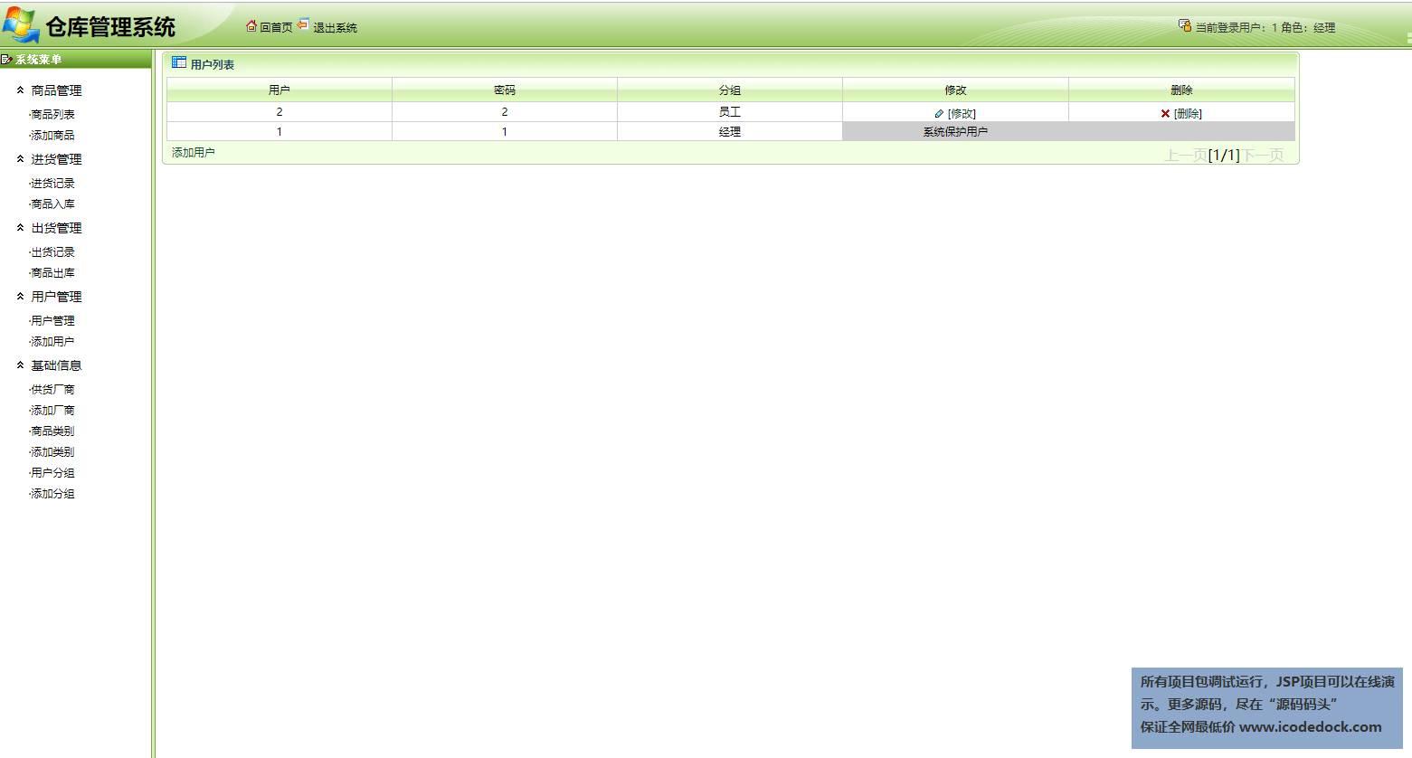 源码码头-SSH仓库管理系统-管理员角色-用户管理
