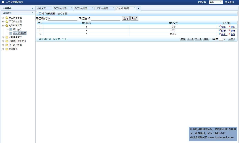 源码码头-SSH公司企业人力资源管理系统-管理员角色-岗位管理