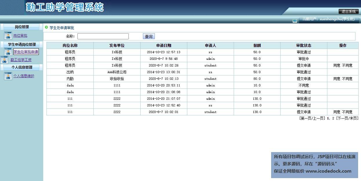 源码码头-SSH勤工助学管理系统-学生处角色-学生处审批管理
