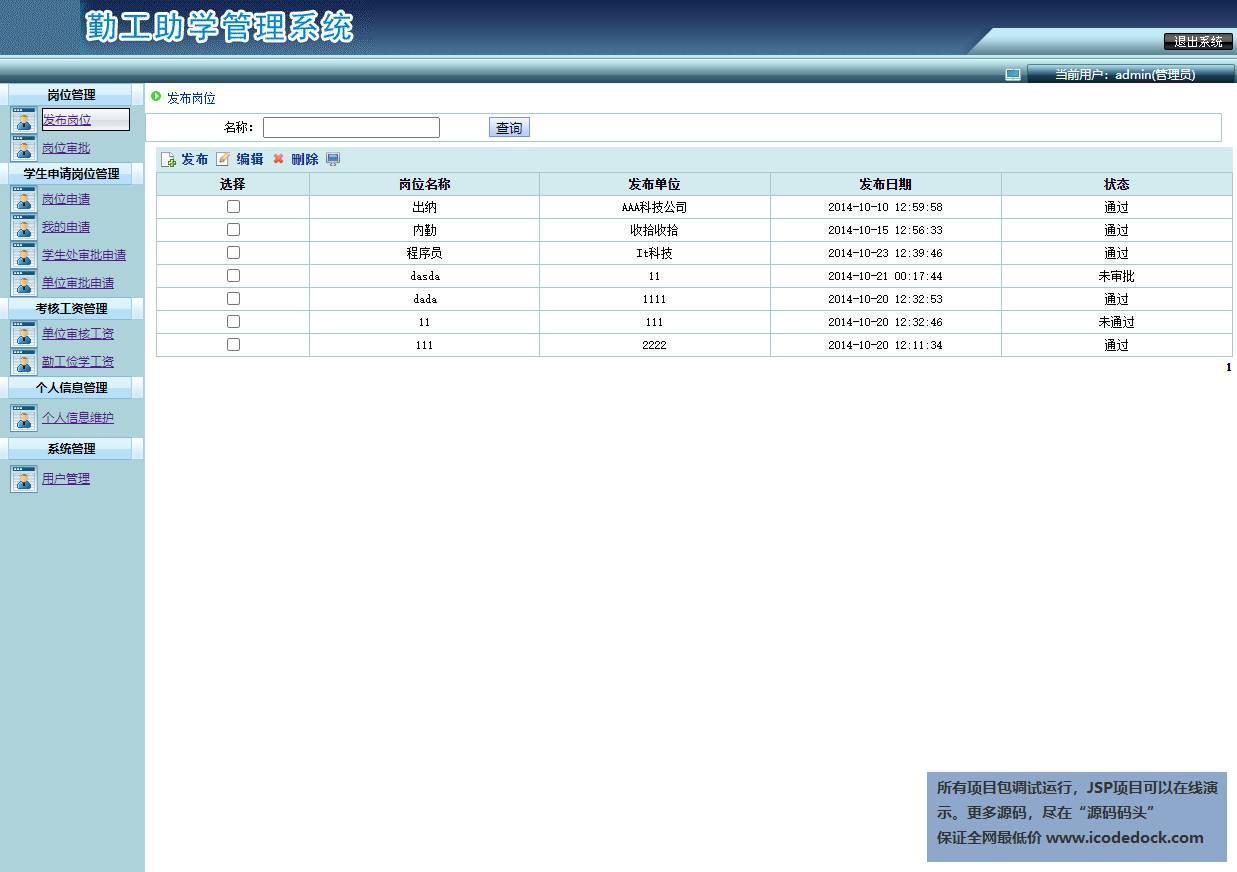 源码码头-SSH勤工助学管理系统-管理员角色-岗位管理