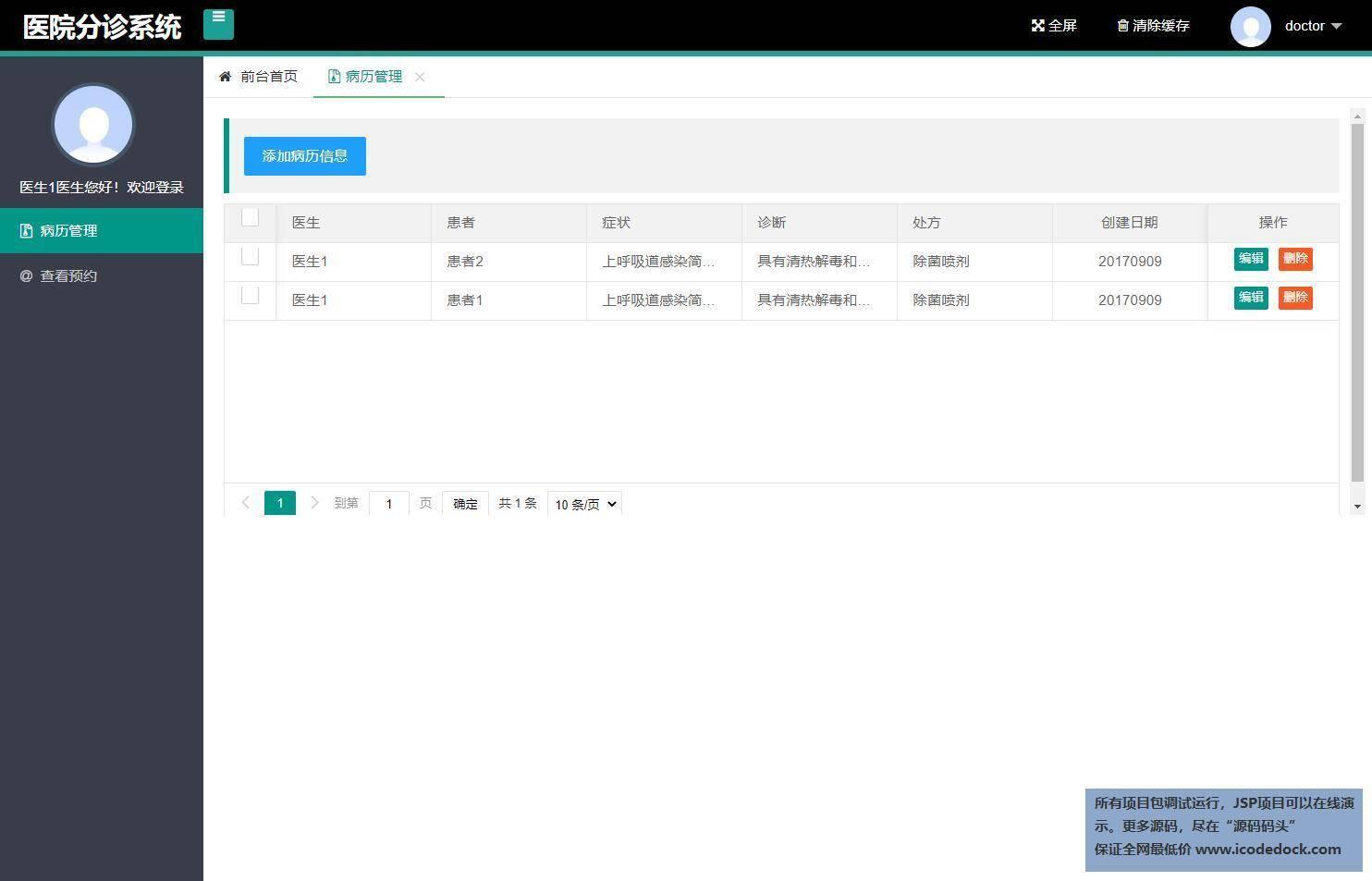 源码码头-SSH医院分诊管理系统-医生角色-病历管理
