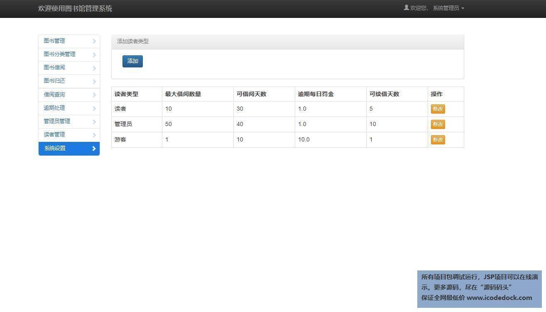 源码码头-SSH图书管理系统-管理员角色-系统角色设置