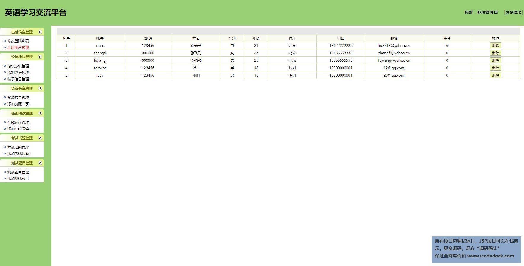 源码码头-SSH在校英语教学交流网站-管理员角色-用户注册管理