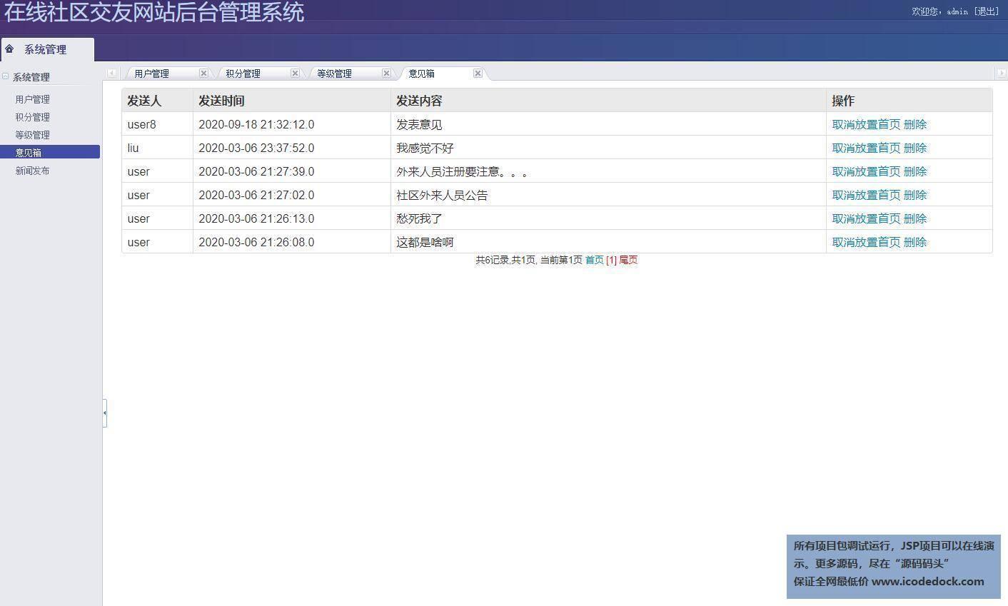 源码码头-SSH在线交流网站平台管理系统-管理员角色-意见箱管理