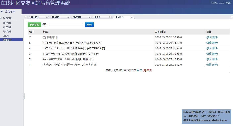 源码码头-SSH在线交流网站平台管理系统-管理员角色-新闻发布管理