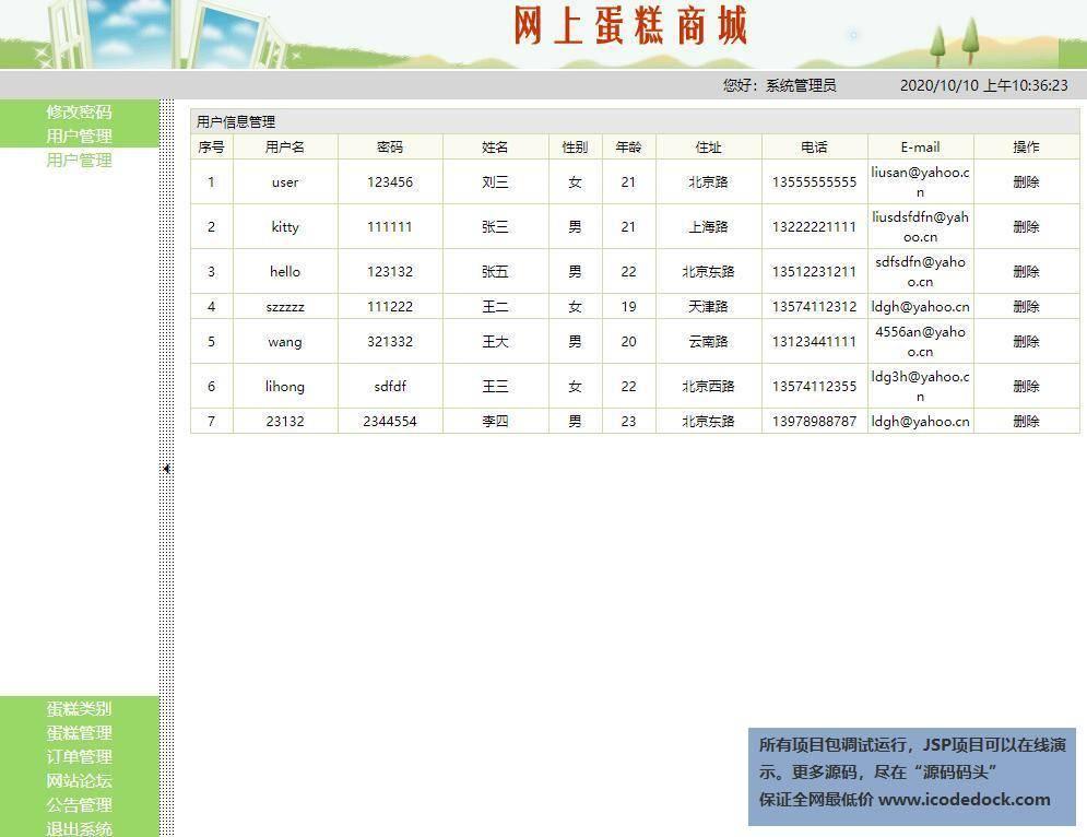 源码码头-SSH在线蛋糕销售网站平台管理系统-管理员角色-用户管理