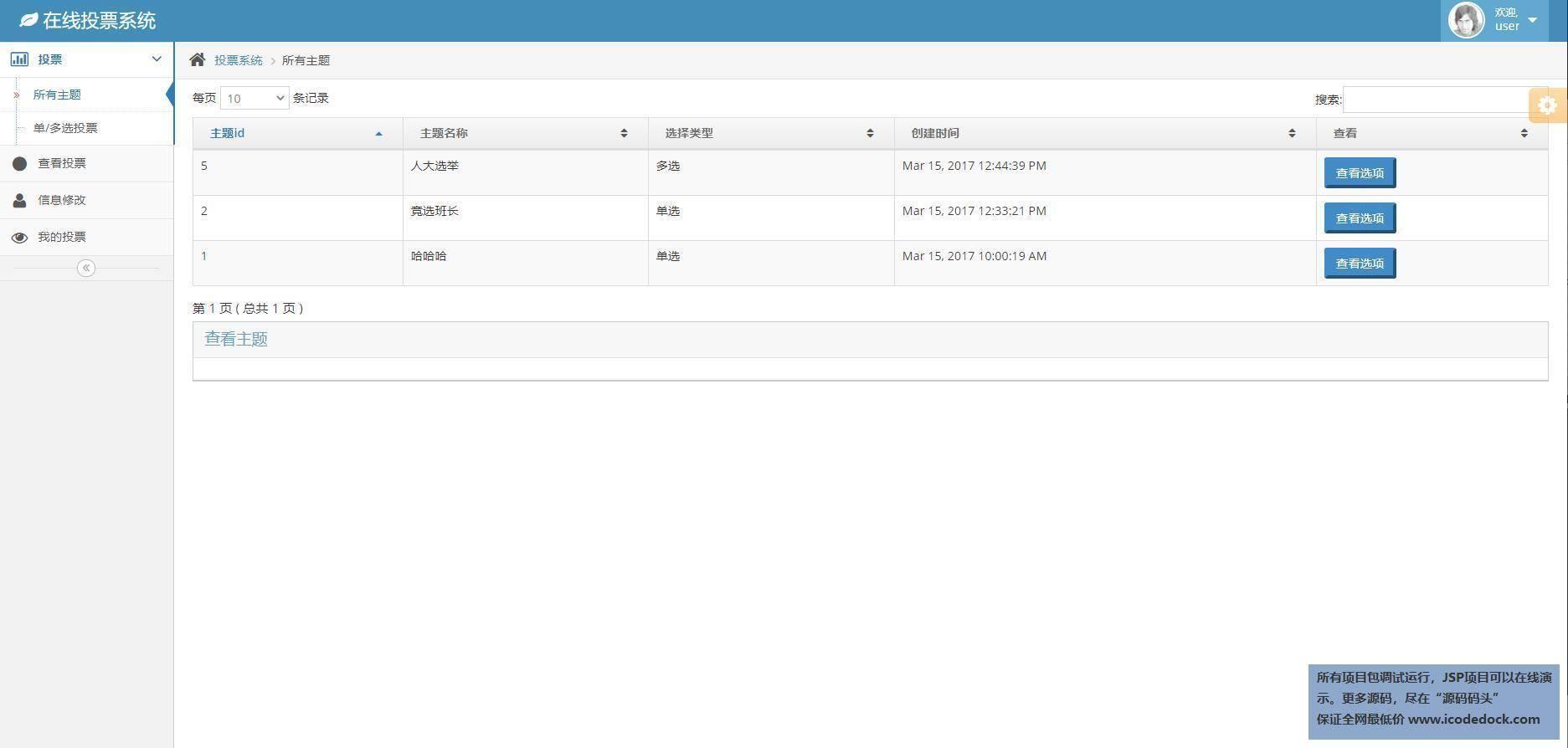 源码码头-SSH在线调查问卷管理系统-用户角色-查看主题