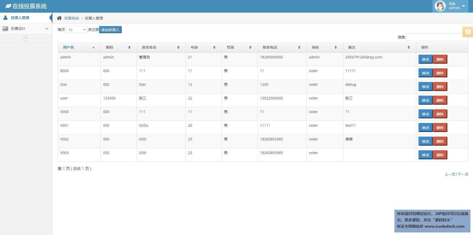 源码码头-SSH在线调查问卷管理系统-管理员角色-用户管理