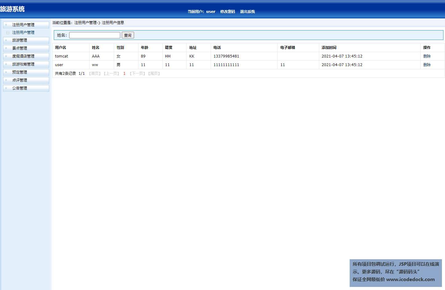 源码码头-SSH实现在线旅游网站-管理员角色-注册用户管理