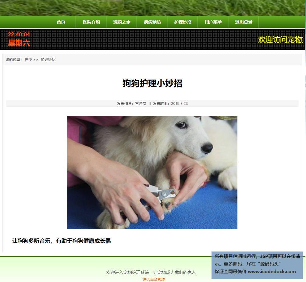 源码码头-SSH实现的一个在线宠物医院-用户角色-查看护理妙招