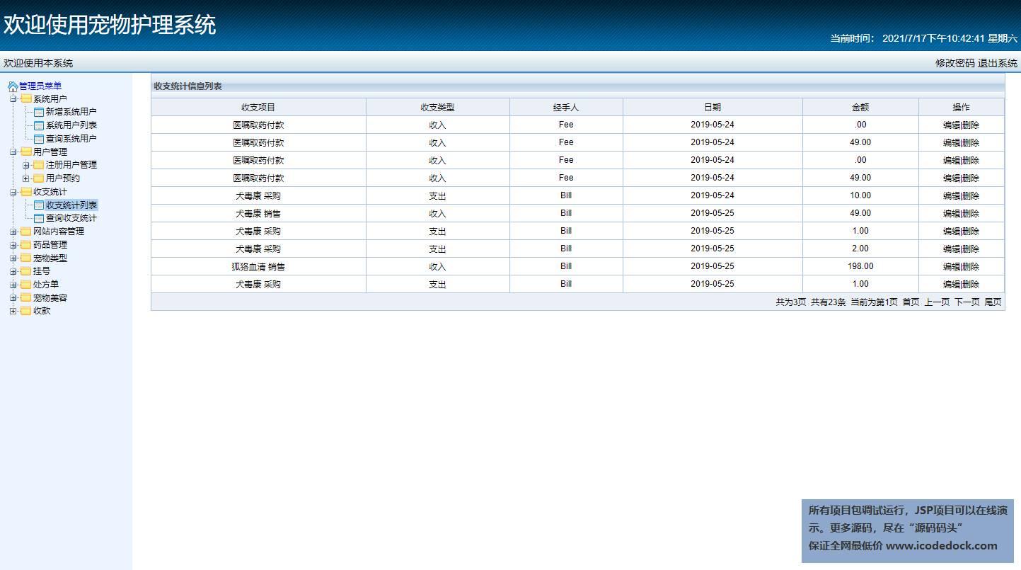 源码码头-SSH实现的一个在线宠物医院-管理员角色-收支统计管理