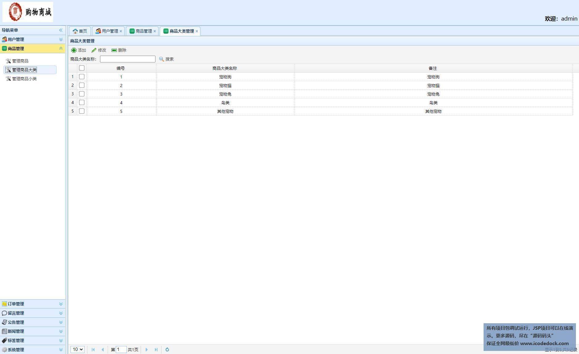 源码码头-SSH实现的一个宠物商城-管理员角色-商品分类管理