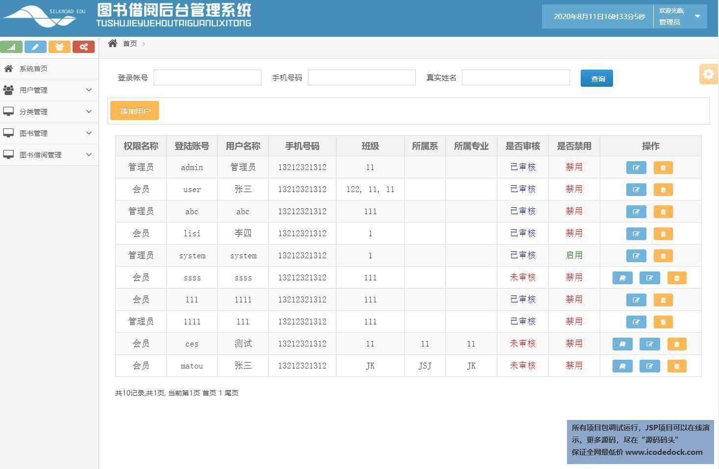 源码码头-SSH实现简单图书借阅管理系统-管理员角色-用户管理