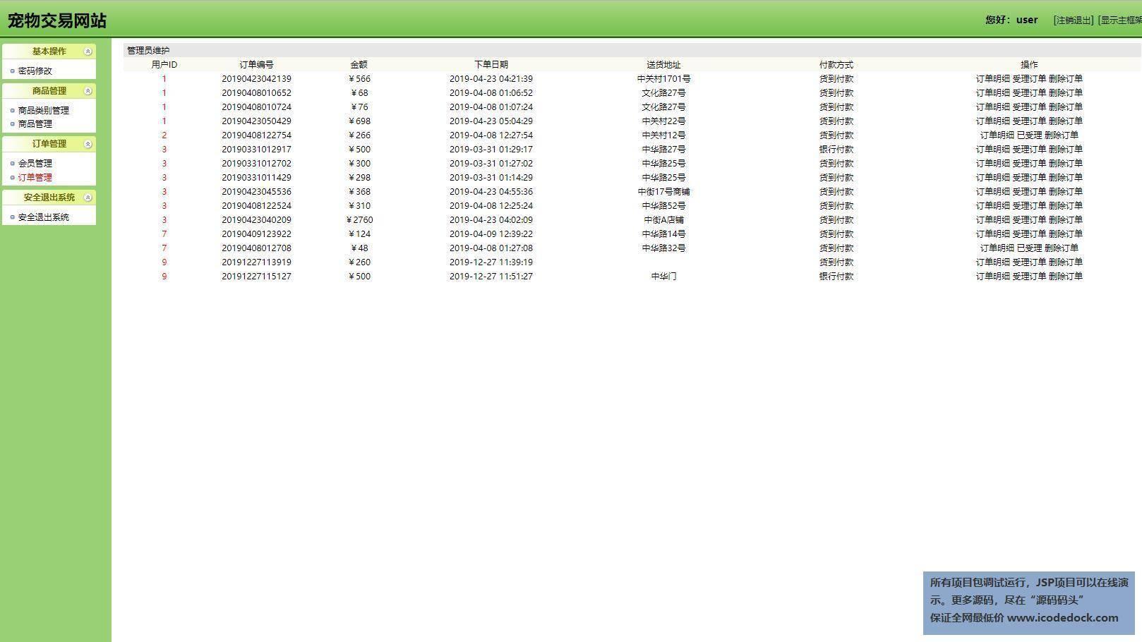 源码码头-SSH宠物交易管理系统-员工角色-订单管理