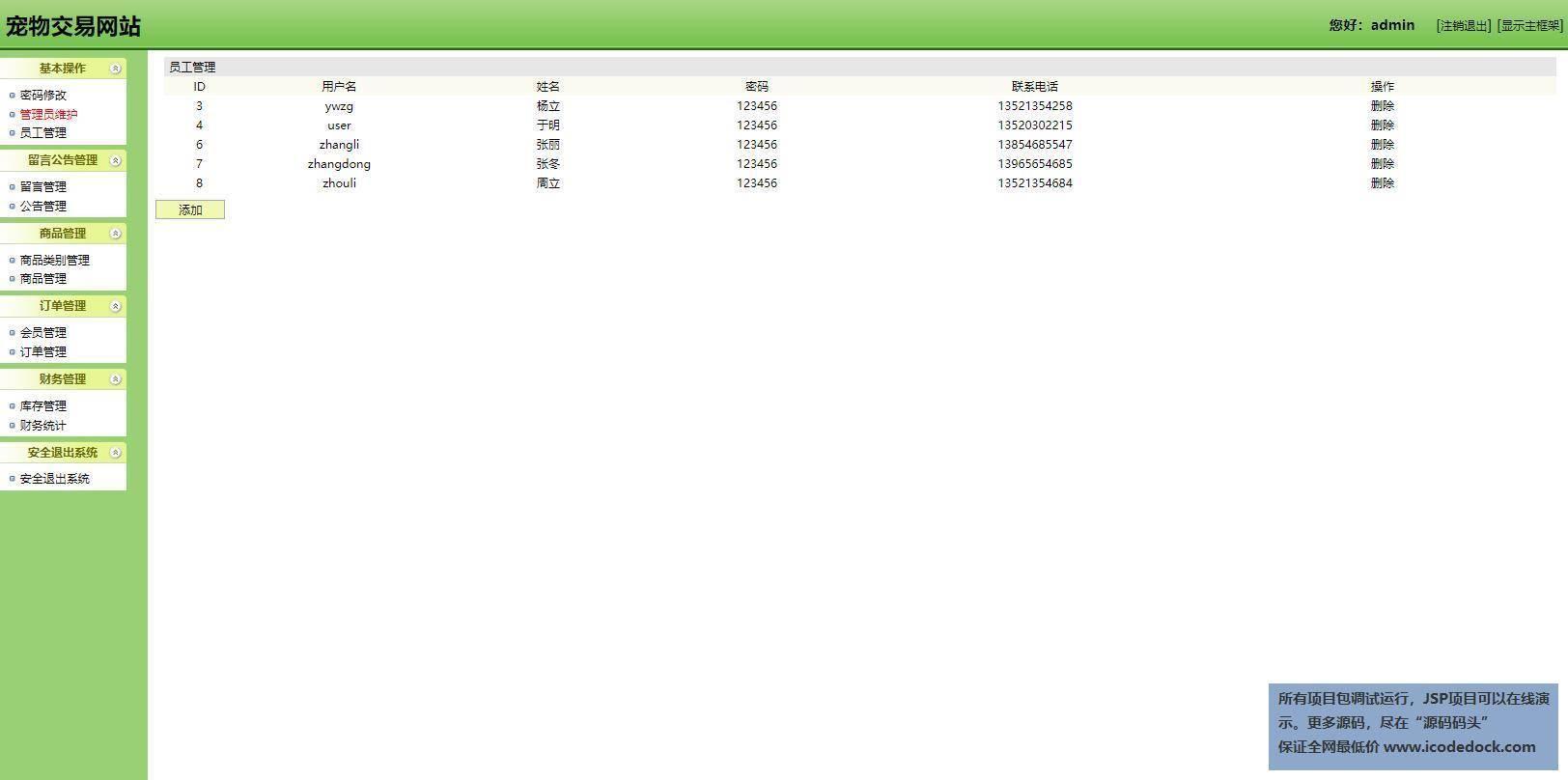 源码码头-SSH宠物交易管理系统-管理员角色-员工管理
