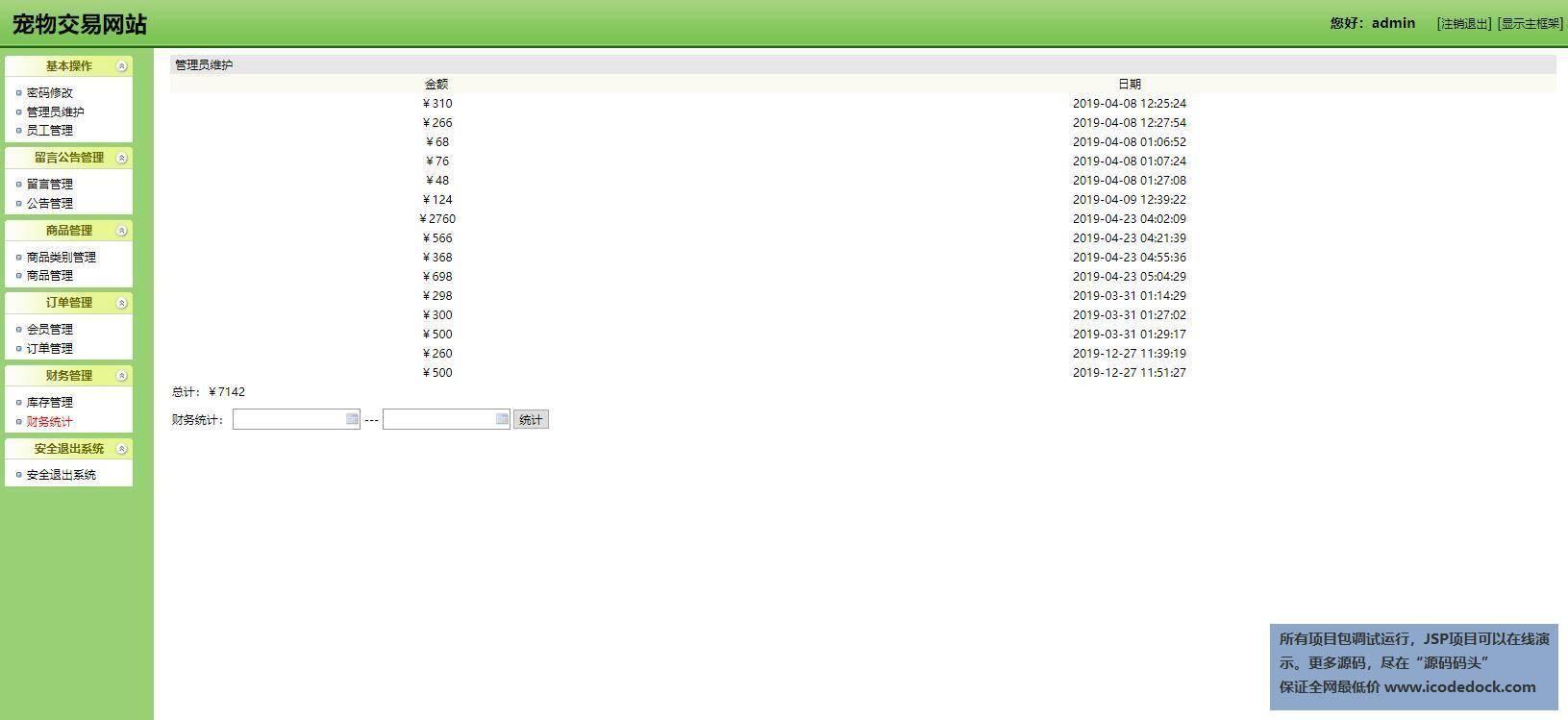 源码码头-SSH宠物交易管理系统-管理员角色-财务统计