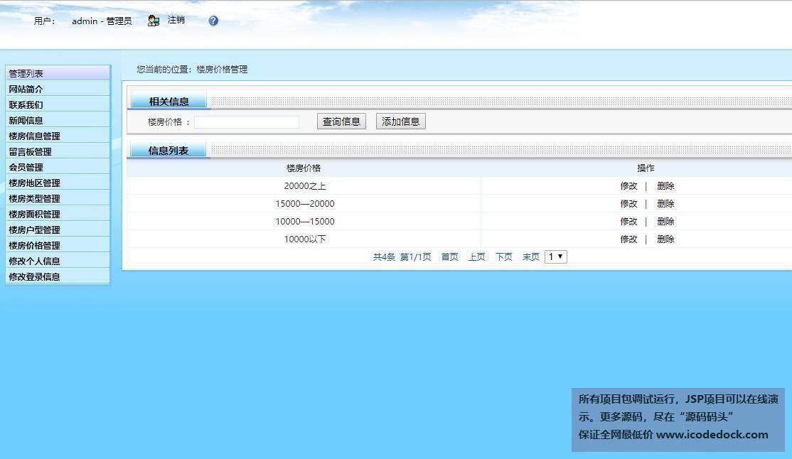源码码头-SSH房屋线下销售网站管理系统-管理员角色-价格管理