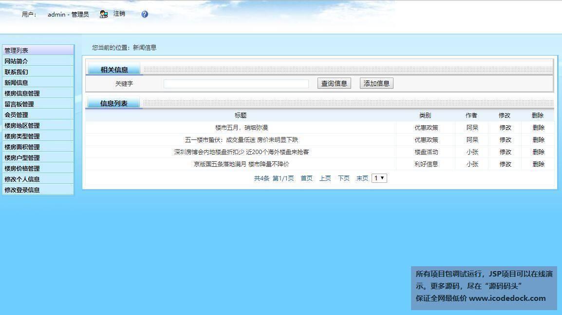 源码码头-SSH房屋线下销售网站管理系统-管理员角色-管理新闻信息