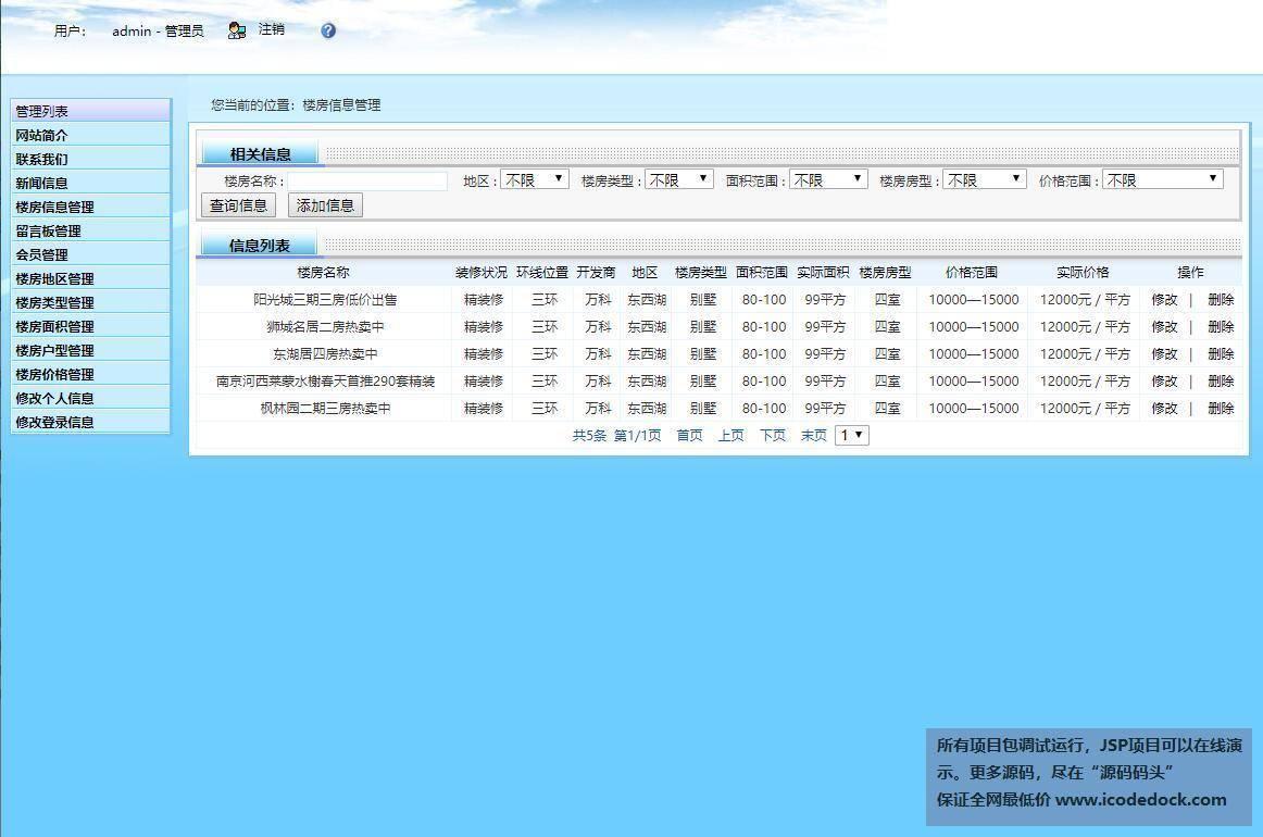 源码码头-SSH房屋线下销售网站管理系统-管理员角色-管理楼房信息