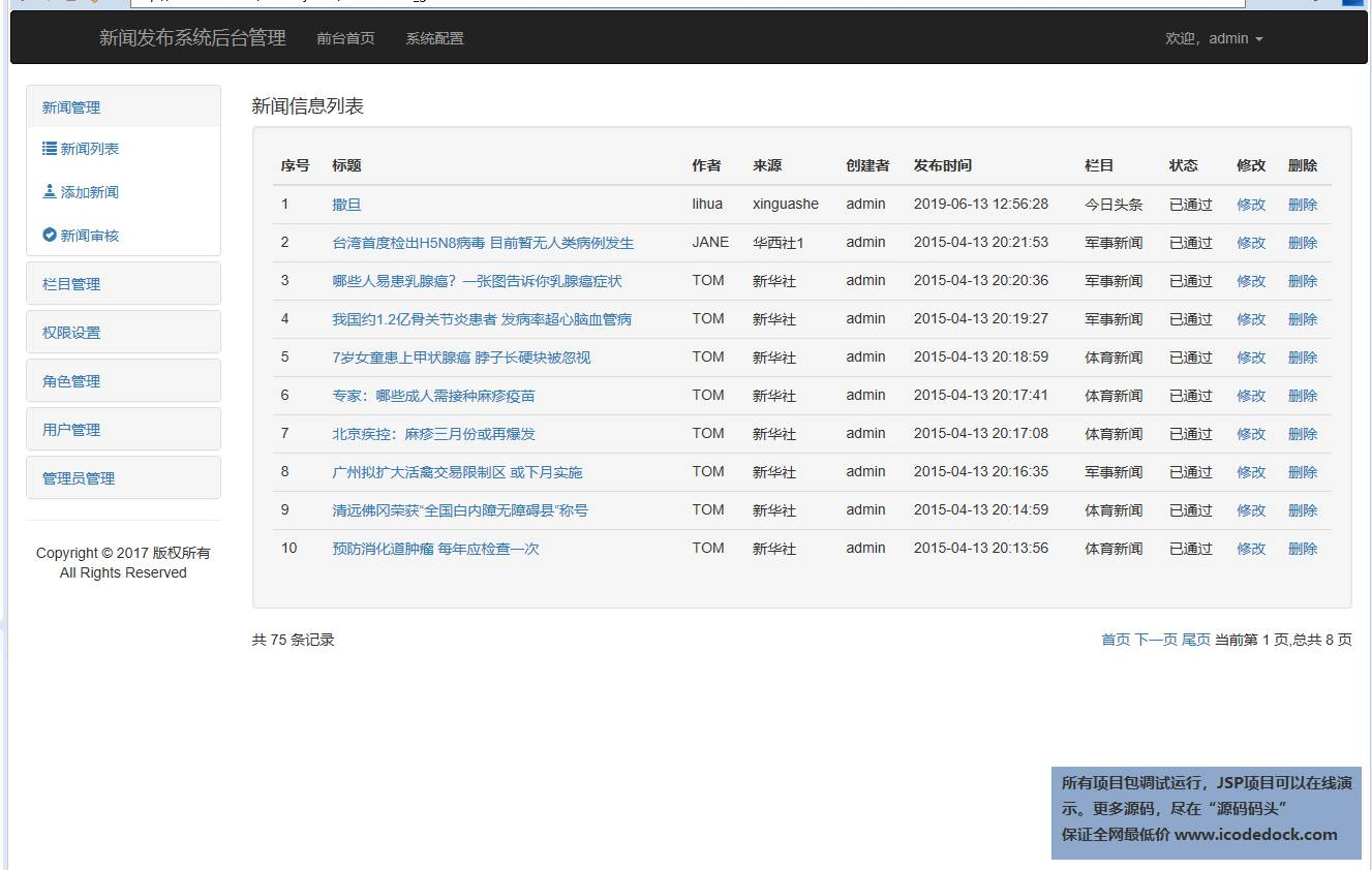 源码码头-SSH新闻管理发布网站系统-管理员角色-管理新闻列表