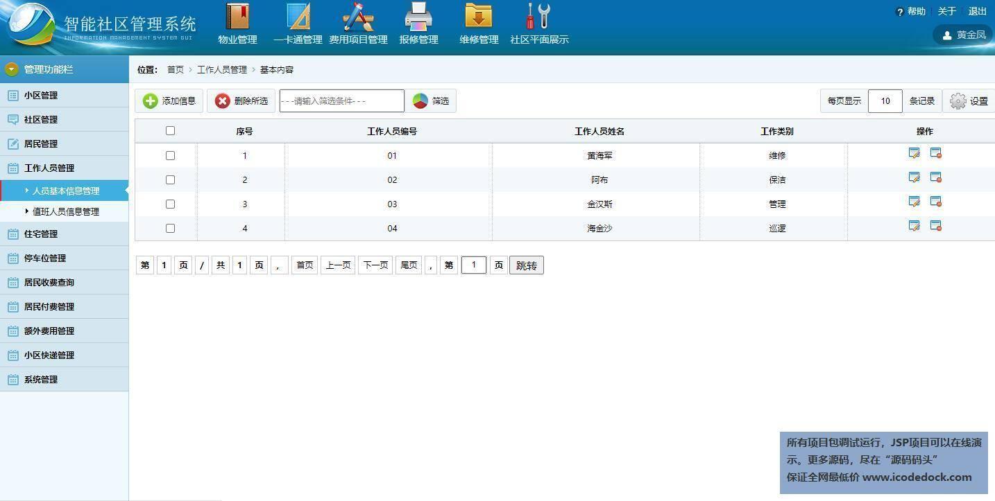 源码码头-SSH智能社区住户信息管理系统-管理员角色-工作人员管理