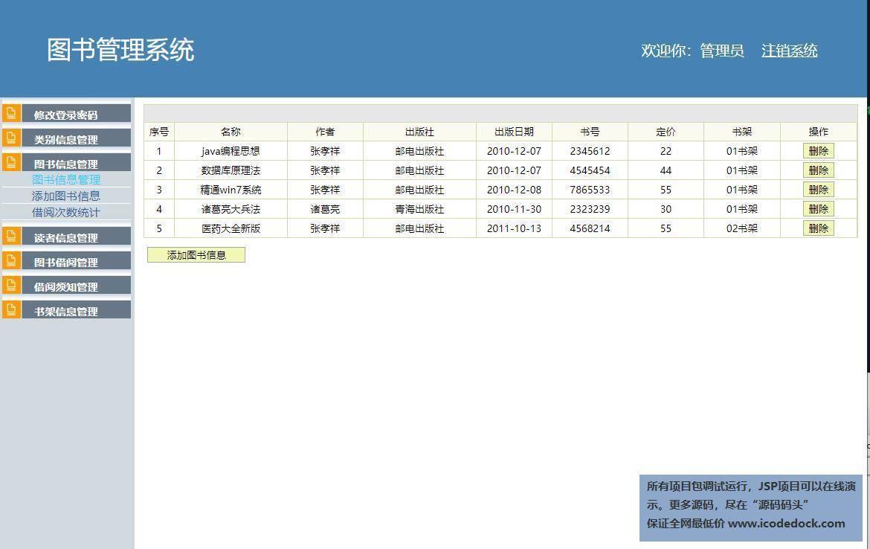 源码码头-SSH校园图书馆管理系统-管理员角色-图书信息管理