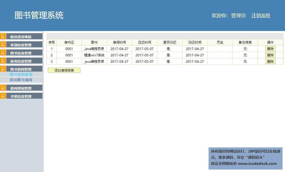 源码码头-SSH校园图书馆管理系统-管理员角色-图书借阅管理